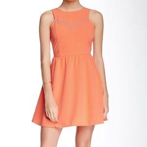 Olive & Oak Orange Chevron Fit & Flare Mini Dress